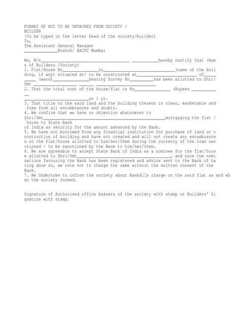 Car Loan Noc Letter Format Of Noc To Be Obtained From Society