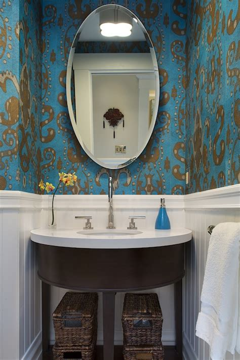 ikat wallpaper contemporary bathroom artistic