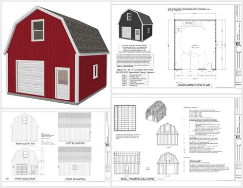 Gambrel Barn Plans by G524 20 X 24 X 10 Gambrel Garage Barn Plans Pdf And Dwg