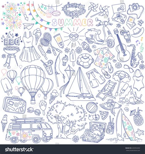 summer doodle free vector summer season themed doodle set traditional stock vector