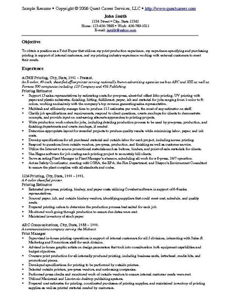 sle resume exle 9 print buyer resume exle or printing estimator sle resume