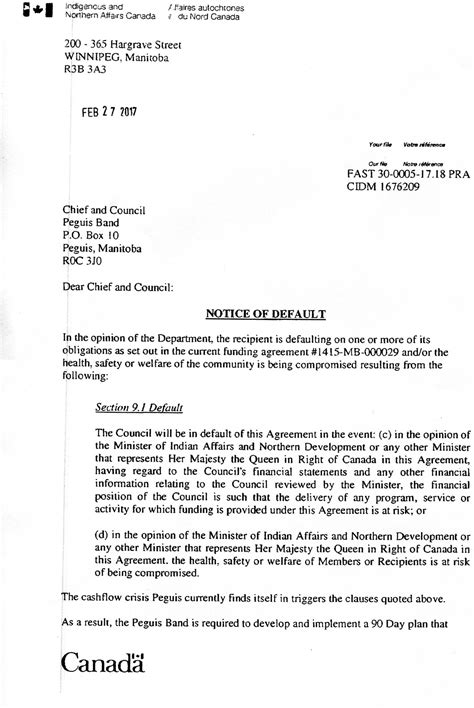 Demand Letter Notice Of Default Notice Of Default Letter Peguis Nation