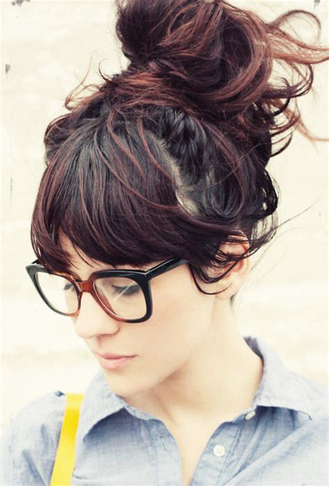 bang and bun hairstyles messy bun and bangs hairstyle pinterest