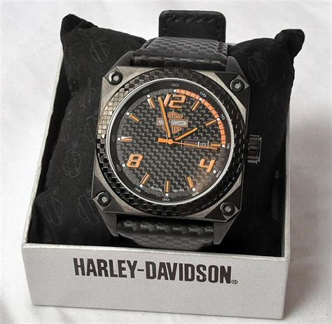 Harley Davidson Ta0086 Leather Date harley davidson bulova s day date stainless leather 78c103 nos