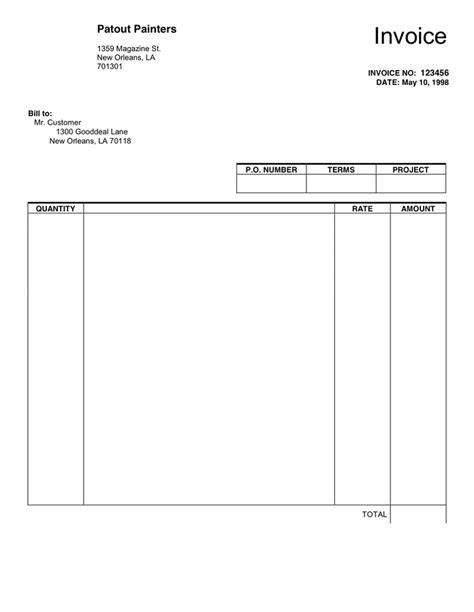 invoice blank template blank invoice template in word and pdf formats