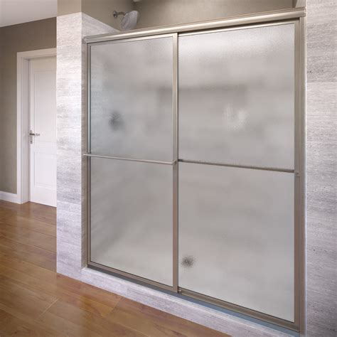 Obscure Shower Door Basco 7150 48bn 48 Deluxe Sliding Shower Enclosure With Obscure Glass Brushed Nickel 7150