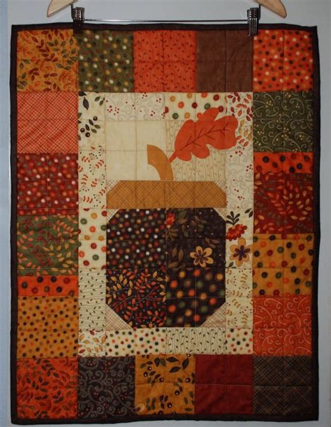 Quilted Acorn acorn quilt hanging quilting wall hangings