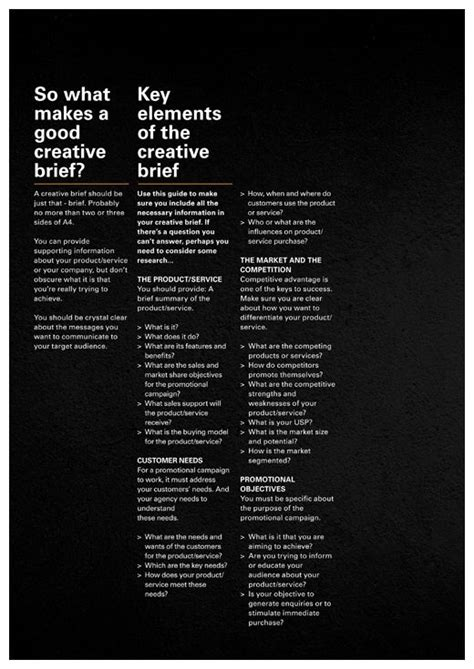 design brief elements creative brief design gd print posters pinterest