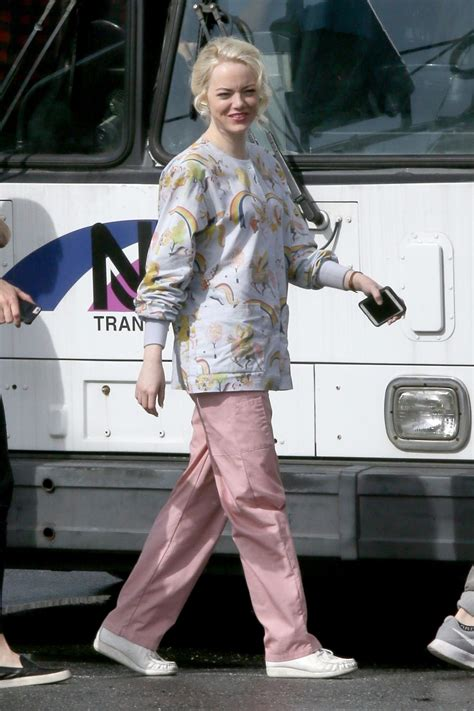 emma stone on the set of the new tv show maniac in emma stone on the set of maniac in new york 09 20 2017