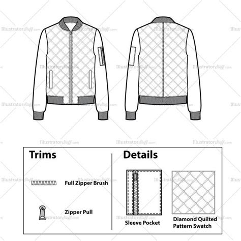 bomber jacket design template quilted bomber jacket flat template illustrator stuff
