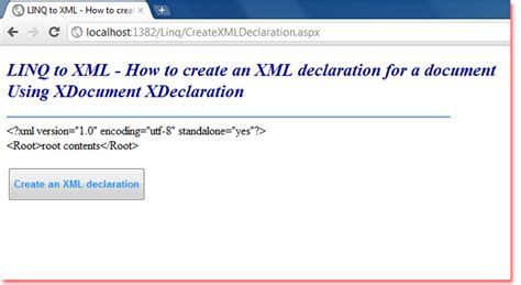 tutorial linq to xml c linq to xml how to create an xml declaration for a