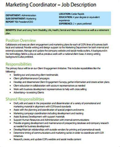 marketing coordinator description 10 sle marketing descriptions sle templates