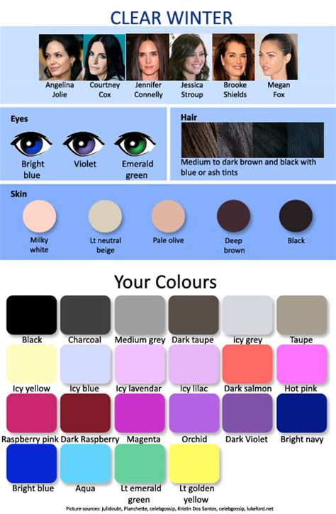 clear winter color palette 12 seasonal palettes 3 winters expressing your