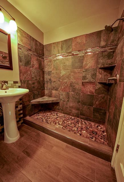 rustic tile bathroom river rock shower floor bathroom remodel
