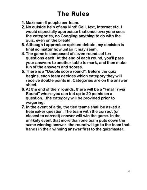quiz night answer sheets trivia night questions and answers