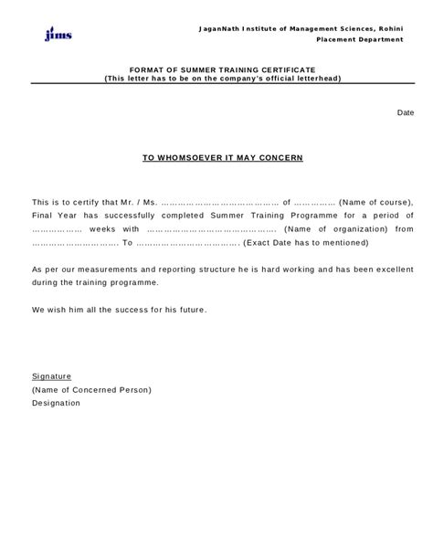 Summer Internship Certificate Format For Mba Hr by St Certificate Format 1