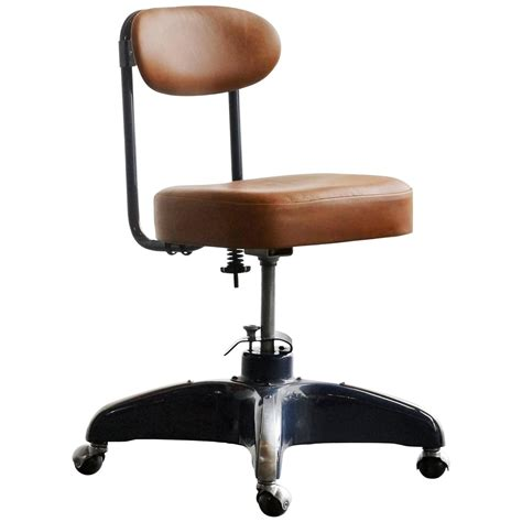 1950s steno chair by cosco refinished steel and leather