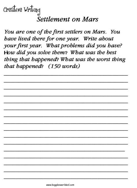 free printable handwriting worksheets for middle school students esl creative writing worksheets
