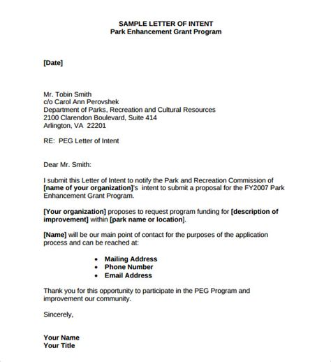 Letter Of Intent To Renew Employment Contract Sle sle letters of intent 7 free documents in