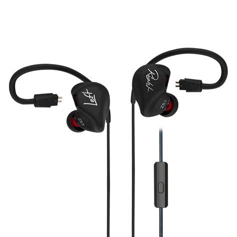 Kaos Metal No 107 kz zs3 hifi earphone stereo kabel metal in ear warna hitam