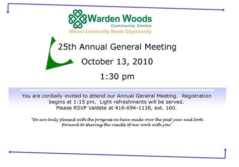 Invitation Letter For Agm Meeting Warden Woods Community Centre You Re Invited To Our Annual General Meeting