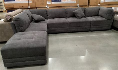 costco sectional couches 6 piece modular fabric sectional in dark gray from costco