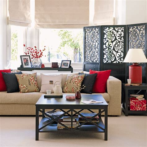 Asian Inspired Living Room | new home interior design traditional living room