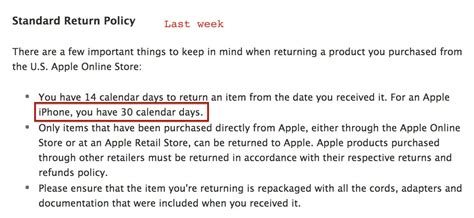 retail return policy template apple drops its 30 day return policy on iphones to 14