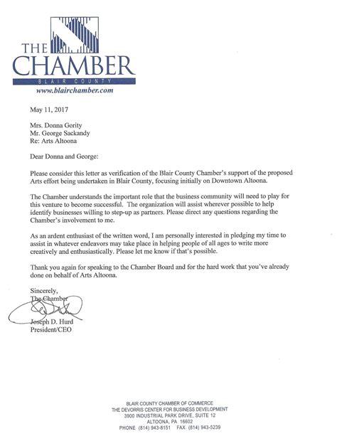 Endorsement Letter For Venue joseph hurd letter of endorsement artsaltoona