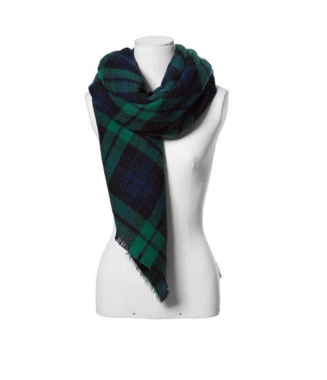 zara checked soft scarf in blue lyst