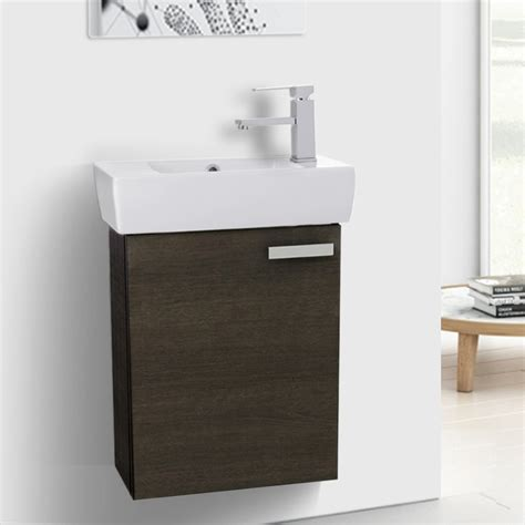 19 Inch Bathroom Vanity by 19 Inch Grey Oak Wall Mount Bathroom Vanity With Fitted