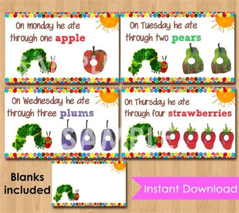 Hungry Caterpillar Printable Labels