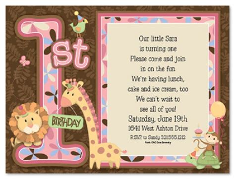 1st year birthday invitation wording birthday invitation wording and 1st birthday