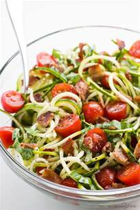 noodle salad recipes zucchini noodle salad recipe with bacon tomatoes low