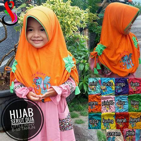 Kerudung Anak Jilbab Kaos Serut Sekolah Anak Kecil Sd Lucu Bagus Murah jilbab anak serut dua pony sentral grosir jilbab