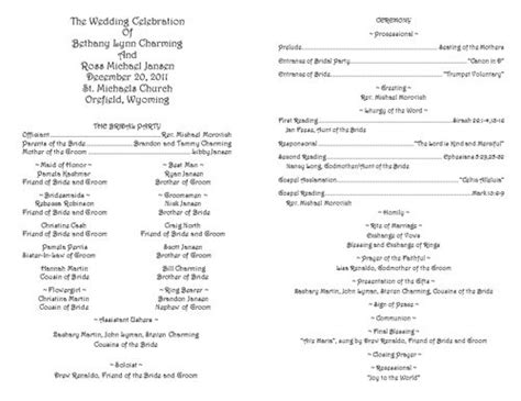 traditional wedding program templates creative wedding programs catholic wedding program