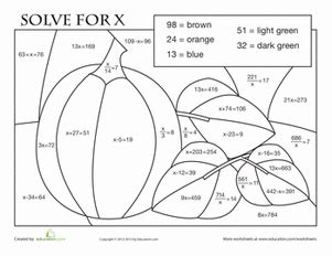 autumn math coloring pages advanced color by number worksheet education com