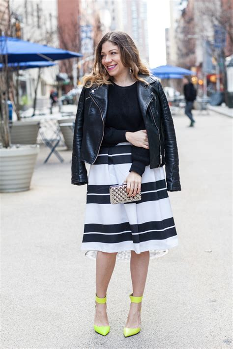 Luxe Leather Jacket For New Year And Beyond by Neon Shoes A Striped Midi Skirt Coralsncognacs