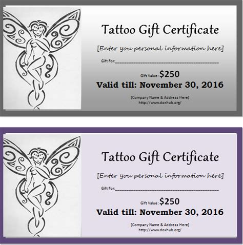tattoo gift card gift certificate template for ms word document hub