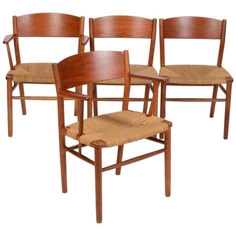 set of four b 248 rge mogensen seagrass dining chairs for sale