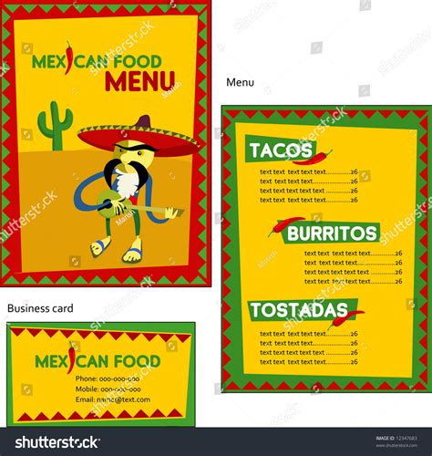 mexican id card template template designs of mexican menu and business card for