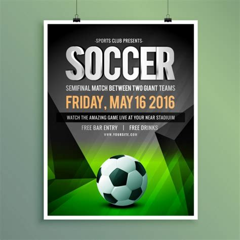 soccer poster template soccer semifinal match poster vector free