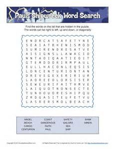 Paul s shipwreck word search bible activities for children