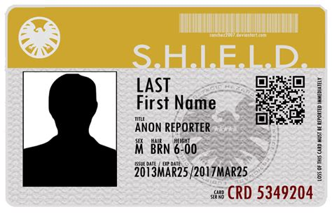 shield id card template s of s h i e l d id card by sanchez2007 on deviantart