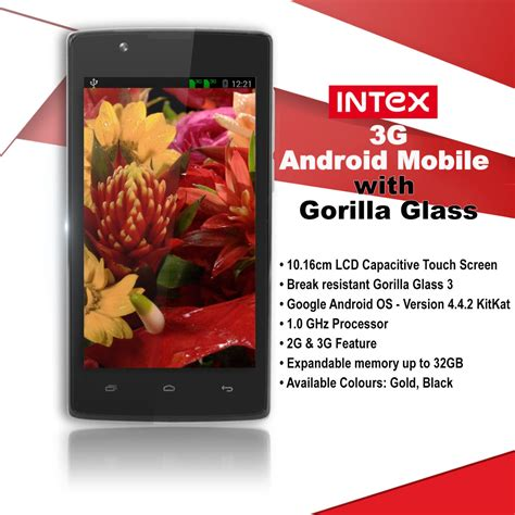 intex android mobile buy intex 3g android mobile with gorilla glass at