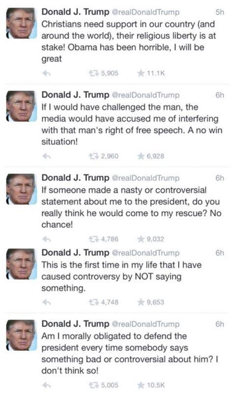 donald trump tweets trump no it s not my obligation to defend obama
