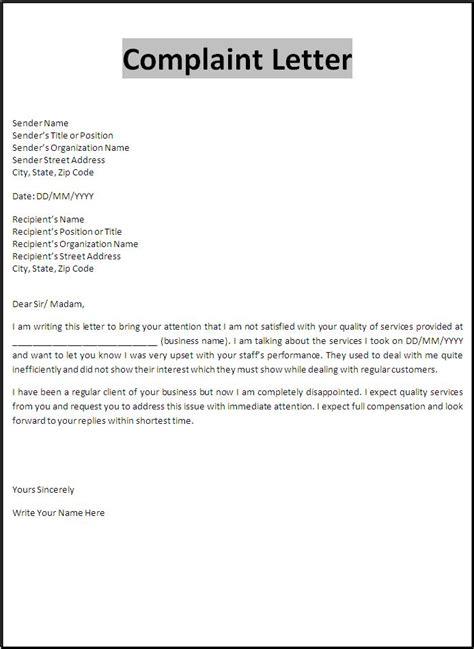 complaint letter format word templates