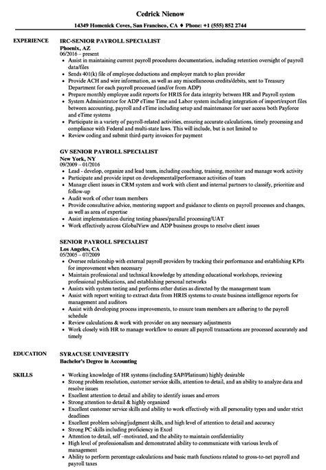 senior payroll specialist resume samples velvet jobs