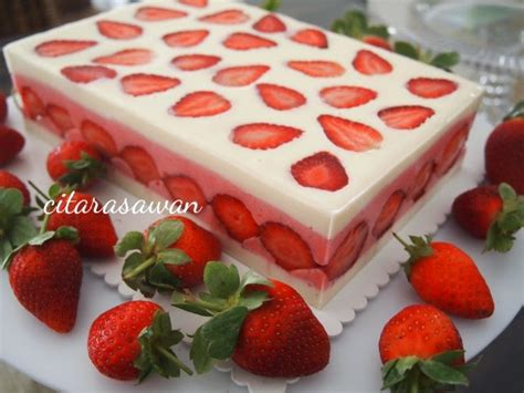 Loyang Pudding Tipe 5 strawberry snow pudding resepi terbaik