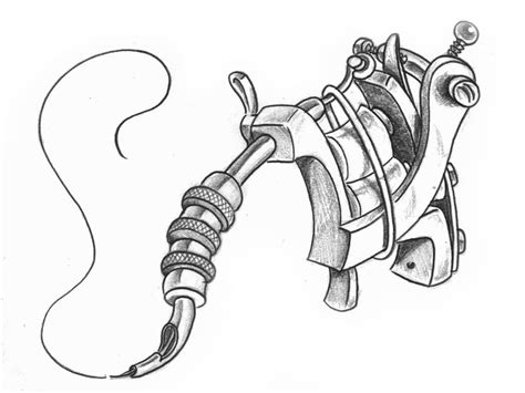 tattoo machine drawing simple gun drawing search denenecek